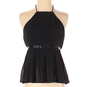 Saks Fifth Avenue Black Silk Halter Top, Size 2 Sm